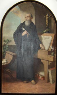 A painting of St. Benedict drafting the Benedictine Rules, by Herman Nieg, c. 1926. The painting resides in the church of Heiligenkreuz Abbey near Baden bei Wien, Lower Austria. (View Larger)