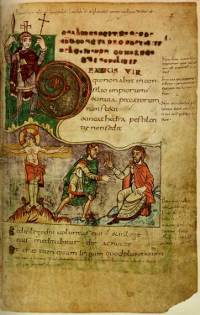 Leaf 2r of the Stuttgart Psalter (Folio Bible 23 in the Wurttenmbergische Landesbibliothek). (View Larger)