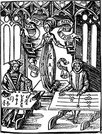 A woodblock from Gregor Reisch's Margarita Philosophoca, 1508, depicting a table abacus. (View Larger)