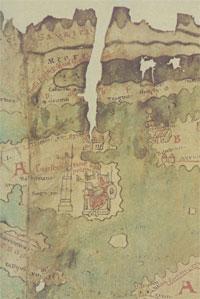 Constantinople, on the original Tabula Peutingeriana. (View Full Scan - WARNING: 30mb File!)