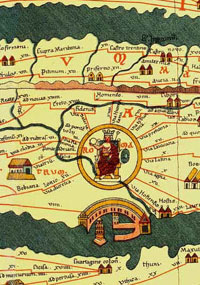 Rome and its vicinity, as depicted on a reproduction the Tabula Peutingeriana. (View Full Map - Very Large)