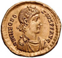 A coin featuring the profile of Emperor Theodosious. (View Larger)