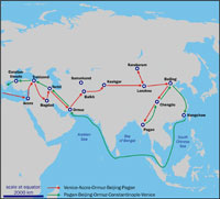 A map of the Polos' eastward journey, begun in 1271. (View Larger)