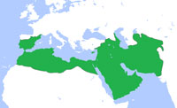 A map of the Umayyad Caliphate at its greatest extent, in 750 CE. (View Larger)