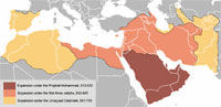 A map displaying the expansion of the Umayyad empire. (View Larger)
