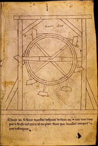Villard's schematic illustration of a perpetual-motion machine. Folio 1 of Fr.19093 preserved at the Bibliotheque Nationale. (View Larger)