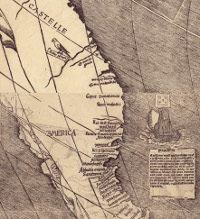 A portion of the last surviving copy of the Waldseemüller map, made by German cartographer Martin Waldseemüller in 1507, was the first published map to include the name 'America.' (View Larger)