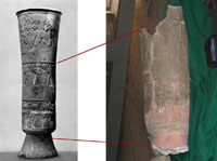 A comparison of the Warka Vase before (left) and after (right) it sustained damage as a result of the invasion of Iraq. (View Larger)