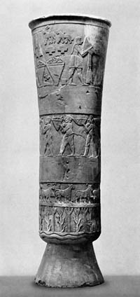 A side-view of the Warka Vase, before the invasion of Iraq. (View Larger)