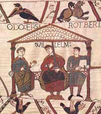 William the Conqueror, seated center, flanked by Odo, Archbishop of Canterbury, left, and Rotbert, right.  <p>William of Normandy, less well known as William the Bastard, and better known as <a href=
