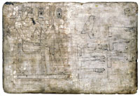 An ancient Egyptian wooden drawing board inscribed with a picture of Thutmose III. It is preserved in the British Library as EA 5645. (View Larger)